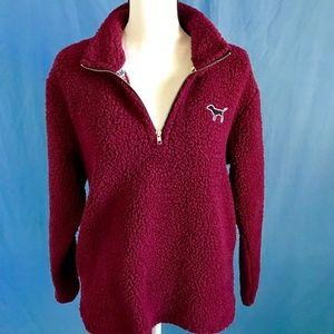 Pink Victoria's Secret Fleece  3/4 Zip Size Small